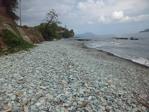 Hamparan pantai berbatu hijau di Penggajawa - Flores