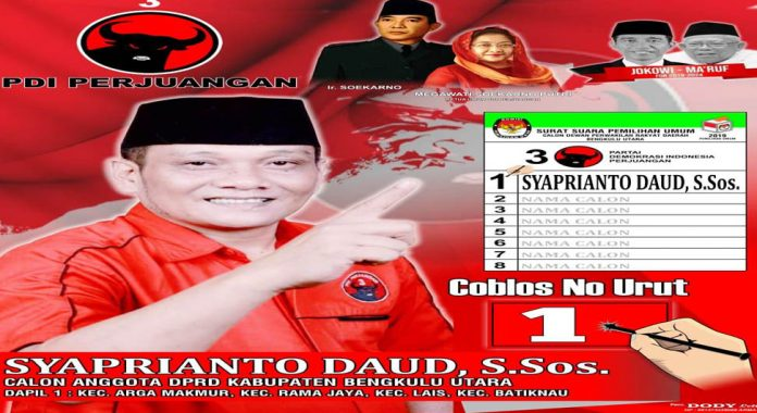 Pileg 2019, Syaprianto Daud Kembali Nyaleg