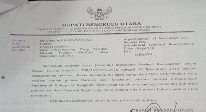 Surat Bupati Bengkulu Utara Tahun 2012