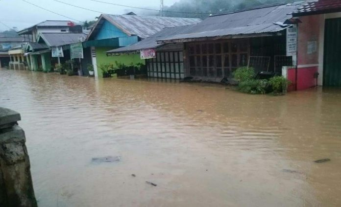Sejumlah Rumah Warga Desa Suka Marga, Kecamatan Amen, Kabupaten Lebong, Dilanda Banjir.