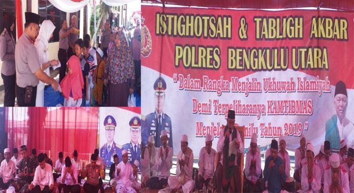 Gelar Tabligh Akbar, Kapolres Bengkulu Utara Santuni Anak Yatim