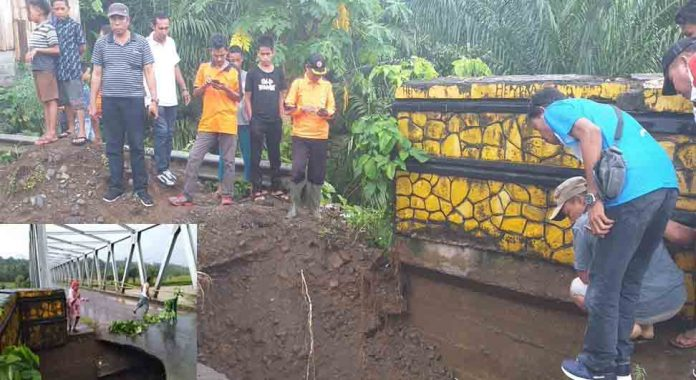 Jembatan di Desa Taba Tembilang Amblas, Pengendara Dihimbau Waspada