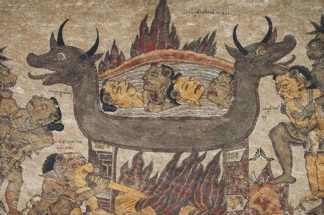 Sebuah lukisan langit-langit di pura Bali; menggambarkan manusia sedang dimasak oleh sosok-sosok mahluk jahat [ KRZYSZTOF DYDYNSKI/GETTY IMAGES ]